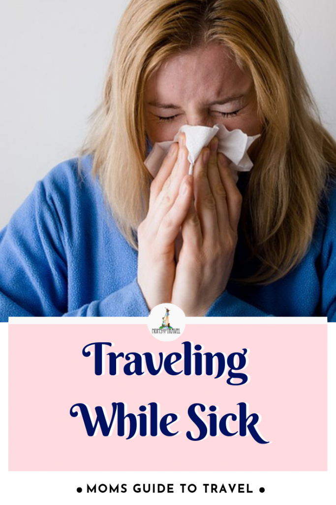 woman traveling while sick
