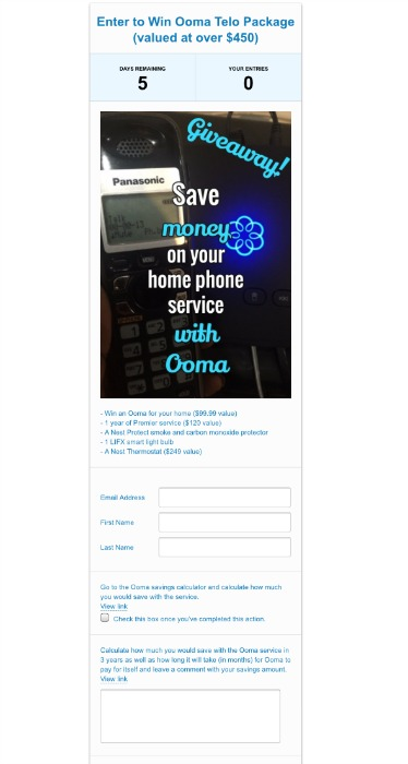 Ooma Telo Internet Service Sweepstakes