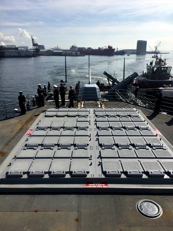 USS Leyte Gulf pulls into Baltimore Harbor