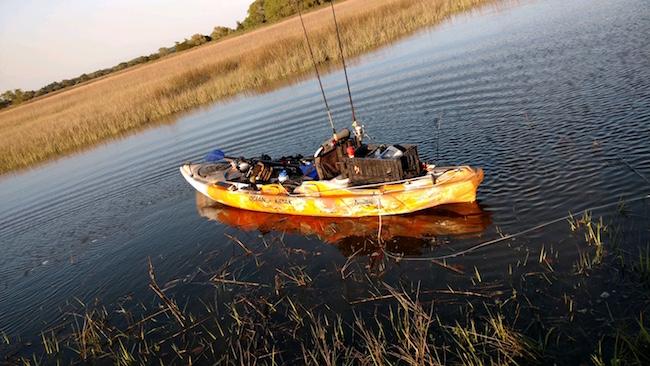 kayak fishing charleston rigged boat